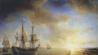 La Salle's Expedition to Louisiana in 1684, painted in 1844 by Jean Antoine Théodore de Gudin. La Belle, left, sank in present-day Matagorda Bay.