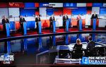 The first GOP presidential debate of the 2016 election cycle in Cleveland, Ohio, on August 6, 2015. Seven candidates didn't meet debate sponsor Fox News' polling criteria and met in this separate debate.