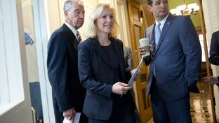 U.S. Sens. Kirsten Gillibrand, D-N.Y., Ted Cruz, R-Texas, joined fellow Sen. Charles Grassley (left), R-Iowa, ahead of a July 16, 2015, Capitol news conference on legislation creating a process for reviewing cases of military sexual assault and alleviating victims' fears of reporting an incident.
