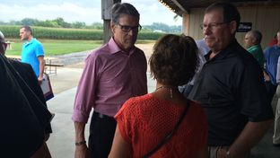 Rick Perry on campaigns in Kimballton, Iowa on August 17, 2015.