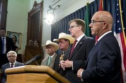 Lt. Gov. Dan Patrick (second from right) and State Sen. John Whitmire (right), D-Houston, announced on Aug. 18, 2015, the creation of an interim study committee to take a closer look at jail safety.