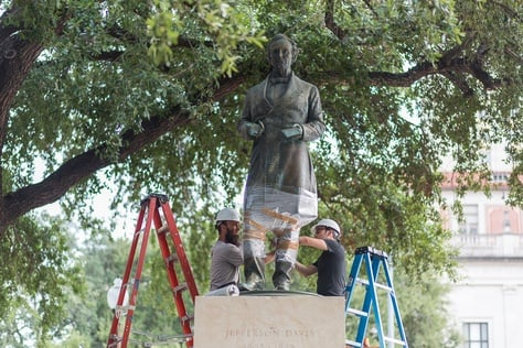 The fatal shooting of nine people in a Charleston, S.C., church prompted a nationwide reconsideration of Confederate monuments in the South. UT-Austin joined in, deciding to remove a statue of Confederate President Jefferson Davis from its south mall. The Sons of Confederate Veterans sued to block the move, but lost. The plan is to eventually move the statue to an on-campus history museum.