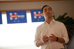 U.S. Rep. Joaquin Castro, D-San Antonio, speaks to a group of Hillary Clinton supporters at a campaign event held at the home of Mark and Sharon Naughton in Iowa City on Aug. 30, 2015.