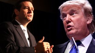 U.S. Sen. Ted Cruz (left) and fellow GOP presidential candidate Donald Trump.