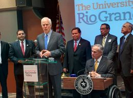 U.S. Sen. John Cornyn, along with members of the U.S. Congressional delegation and Gov. Greg Abbott, at the University of Texas Rio Grande Valley, on Sept. 14, 2015.