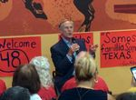 Gov. Greg Abbott spoke to a crowd at the Cowboy Chicken restaurant in McAllen, Texas, on Sept. 16, 2015.