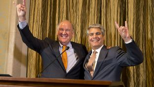University of Texas at Austin President Gregory Fenves (right) introduced interim UT athletics director Mike Perrin on Sept. 16, 2015.