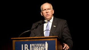 CIA Director John O. Brennan speaks at the LBJ Library as the agency releases to the public Sept. 16, 2015 classified copies of the President's Daily Briefings from the Kennedy and Johnson years of 1961-1969.