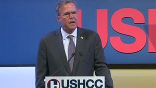 Presidential candidate Jeb Bush at the Women in Business & Leadership Luncheon at the United States Hispanic Chamber of Commerce National Convention on Sept. 21, 2015.