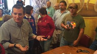 U.S. Sen. Ted Cruz, R-Texas, speaks with Iowans on Saturday at a restaurant in Hampton. The 2016 presidential candidate discussed the resignation of U.S. House Speaker John Boehner and what it means for the White House race.