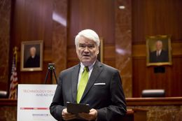 Chief Justice of the Texas Supreme Court, Nathan Hecht during press conference revealing that eFile Texas, the electronic court filing system in the US is complete on September 30, 2015