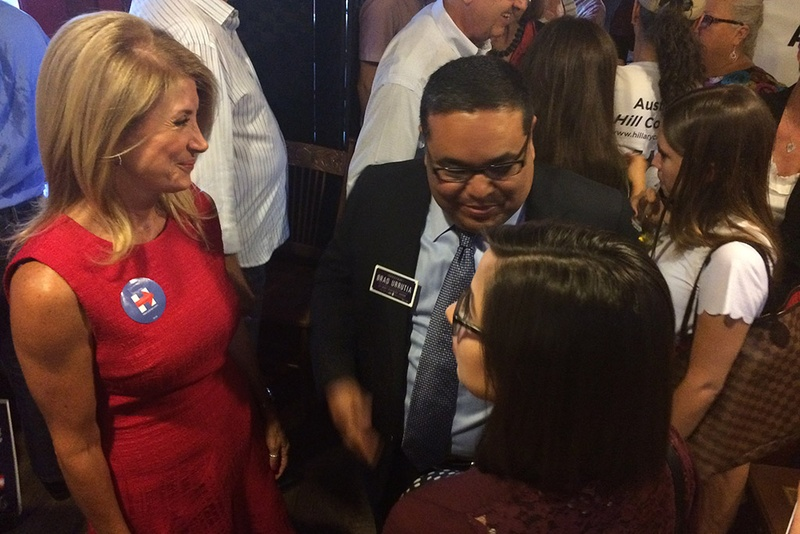 "Former Democratic gubernatorial candidate Wendy Davis greets supporters after holding an event Wednesday in Austin to endorse Hillary Clinton for president. Davis said Clinton, the former secretary of state, holds Texas in a ""very dear place in her heart."""