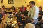 "U.S. Sen. Ted Cruz, R-Texas, holds a meet and greet at a Pizza Ranch restaurant Monday in Rockwell City, Iowa. While campaigning for president earlier in the day in Fort Dodge, he said it would be ""lunacy"" for party leaders to mess with the 2020 primary schedule."