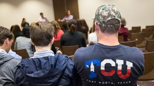 TCU students listen to Sen. Konni Burton, R-Fort Worth, speak during a pro-campus carry event in Fort Worth on Oct. 22, 2015.