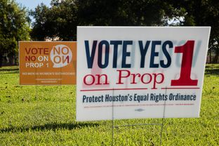 Prop 1 signs posted along the Adaptive Sports and Recreation facility on West Grey in Houston, TX for the November 2015 election. 