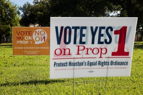 Prop 1 signs posted along the Adaptive Sports and Recreation facility on West Grey in Houston, TX for the November 2015 election.  Photo by: Shelby Knowles