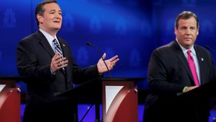 Texas Sen. Ted Cruz and New Jersey Governor Chris Christie at the third GOP presidential debate in Boulder, Colorado, on Oct. 28, 2015.