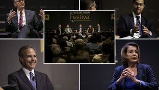 The 2015 Texas Tribune Festival's keynote sessions included one-on-one conversations with Lt. Gov. Dan Patrick (clockwise, from top left), U.S. Department of Housing and Urban Development Secretary Julián Castro, U.S. House Democratic Leader Nancy Pelosi and Texas House Speaker Joe Straus. There was also a panel discussion on the 2016 presidential race.