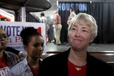 "Houston Mayor Annise Parker after the Houston Unites election watch party for Proposition 1 on Nov. 3, 2015. Parker, who supported the proposition, said after voters rejected it: ""Unfortunately, I fear that this will have stained Houston's reputation as a tolerant, welcoming, global city."""