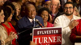 Rep. Sylvester Turner speaks to crowd on election night. Turner narrowly defeated opponent Bill King in a runoff to be elected mayor of Houston on Dec. 12, 2015.