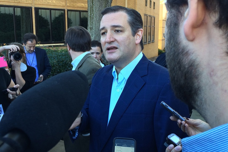 Ted Cruz speaks to reporters on the campus of Bob Jones University in Greenville, S.C. on Nov. 14, 2015.