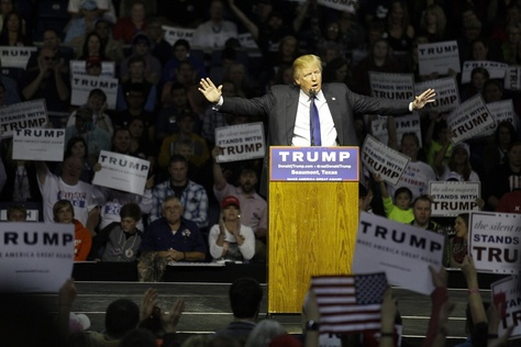 Republican presidential candidate Donald Trump spoke during a rally at Beaumont's Ford Arena on Nov. 14, 2015.