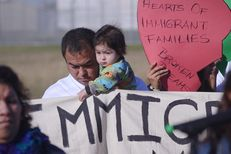 Immigrants and activists participate in press conference and rally before the kick-off of a 37-mile march on Nov. 19, 2015, The march is designed to show their support for immigration reform. The marchers planned to walk for three days, from the federal immigration detention facility in Taylor to the Texas Governor's Mansion in downtown Austin.