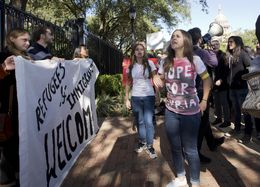 Rally in front of the Governor's Mansion to protest Gov. Abbott's decision not to accept at Syrian refugees on November 22, 2015