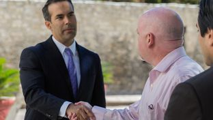 Land Commissioner George P. Bush and Phillips Entertainment President and CEO Davis Phillips discuss the new proposals to the Alamo District.