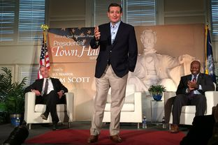 U.S. Sen. and presidential candidate Ted Cruz at a presidential town hall hosted by Sen. Tim Scott, R-S.C., (r.) at Furman University in Greenville, S.C. on Dec. 7, 2015.