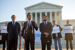 Left to right, Thomas Saenz, President and General Counsel of the Mexican American Legal Defense and Educational Fund, and U.S. Reps. Joaquin Castro (D-TX) and Ruben Gallego (D-AZ) participate in a press conference held by the Congressional Hispanic Caucus in front of the Supreme Court in Washington, D.C., December 8, 2015.  This morning the Supreme Court hears oral arguments on the Evenwel v. Abbott case, on whether voting districts should continue to be drawn by using census population data or whether the system should be changed to count only citizens eligible to vote. (photo by Allison Shelley for The Texas Tribune)
