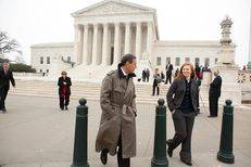 Abigail Fisher, right, plaintiff in Fisher v. University of Texas, leaves the U.S. Supreme Court with Edward Blum of the Project on Fair Representation after oral arguments in the case, in Washington, D.C., Dec. 9, 2015.