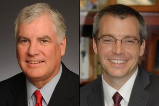Texas Supreme Court Justice Paul Green (left) is facing a Republican primary challenge from Rick Green.