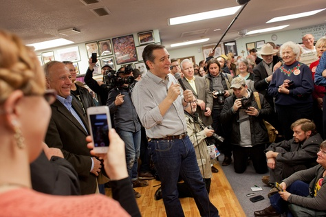 U.S. Sen. Ted Cruz speaks to a crowd gathered at Kings Christian Bookstore in Boone, Iowa, on Jan. 4, 2016. Cruz kicked off a six-day, 28-county bus tour across Iowa in a push to reach out to voters before the state's first-in-the-nation caucus on Feb. 1.