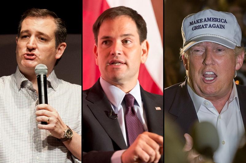 Republican presidential candidates: U.S. Sens. Ted Cruz of Texas, U.S. Sen. Marco Rubio of Florida and billionaire Donald Trump.