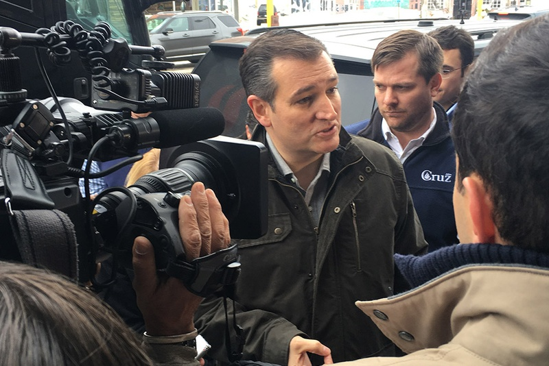 Presidential contender Ted Cruz talks to the press in Rock Rapids, Iowa on Jan. 6, 2016.