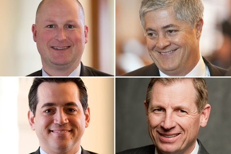 Clockwise, from top left: Republican state Reps. Tony Tinderholt of Arlington, John Frullo of Lubbock, Byron Cook of Corsicana and Matt Rinaldi of Irving.