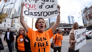 Stephanie Odam of Austin marches in a campus carry protest in Austin, Jan 8, 2015.