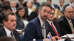 Oncor CEO Bob Shapard testifies before the Texas Public Utility Commission on Jan. 11, 2016. He expressed concerns over the Hunt family's plan to buy Oncor, the state's largest electric utility.