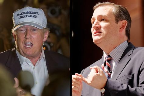 GOP Presidential contenders Donald Trump and Ted Cruz.