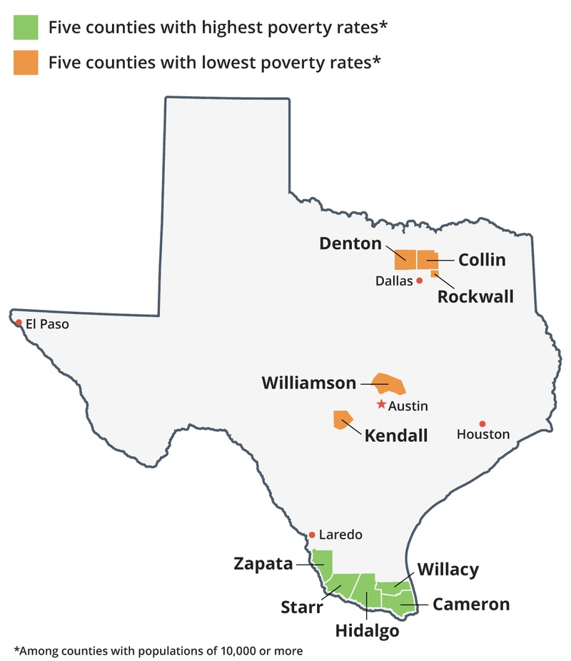 Map Of Zapata Texas.Latest Data Shows Poverty Rate Highest At Border Lowest In Suburbs