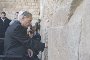 Gov. Greg Abbott at the Western Wall in Jerusalem during a visit to Israel on Jan. 18, 2016.
