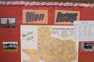 The location of Rowena, Texas, shown on a classroom map at Olfen ISD School.