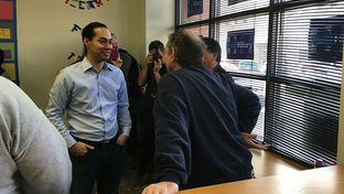 Julián Castro visits a Hillary Clinton campaign field office in Ottumwa, Iowa on Sunday, Jan. 24, 2016.