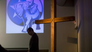 "Jared Woodfill prays at a ""Take Back Our Party"" event  in Spring on Jan. 26, 2016. Woodfill, who is running for Texas Republican party chairman, started the series of events to to ""take back"" the Republican party from what they see as the more moderate establishment."