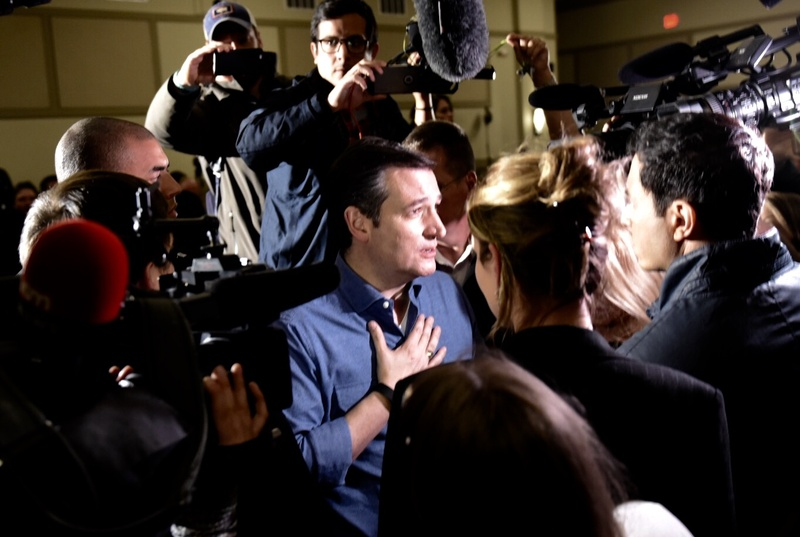 Ted Cruz greets supporters after a rally Wednesday in West Des Moines, Iowa. The Republican presidential candidate is barnstorming the state ahead of its first-in-the-nation caucuses Monday.