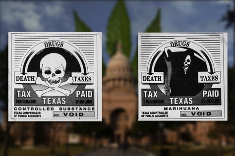 "Sample tax stamps for controlled substances and ""marihuana"" available for sale until last year from the Texas Comptroller of Public Accounts."