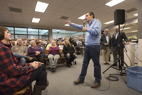 U.S. Sen. Ted Cruz took his presidential campaign to Iowa Lakes Community College in Emmetsburg, Iowa. The Republican from Texas spoke on Jan. 29, 2016.