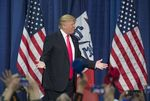 Donald Trump in front of a crowd of 1500 supporters in Council Bluffs, Iowa on Jan. 31, 2016