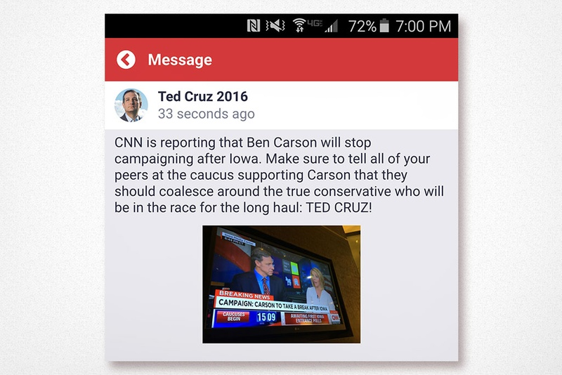 A screenshot of a push notification Ted Cruz's campaign sent to users of its campaign app around the time the Iowa caucuses began on Feb. 1, 2016.